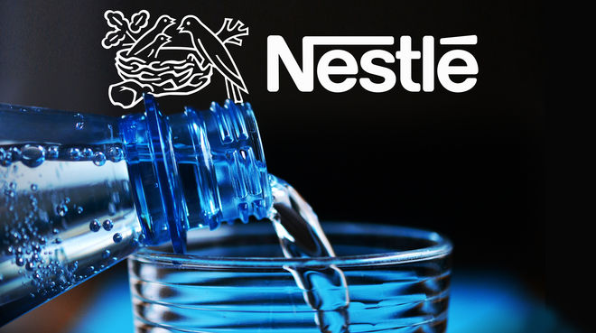 Water bottle and Nestle logo