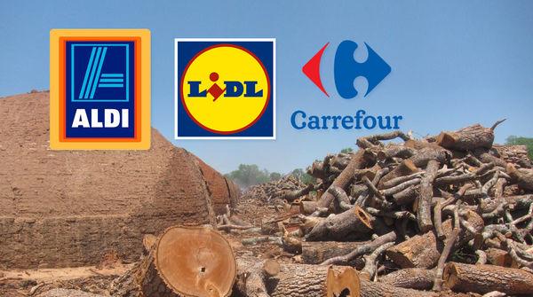 Horno primitivo para producir carbón, y troncos de árboles talados en el Chaco paraguayo